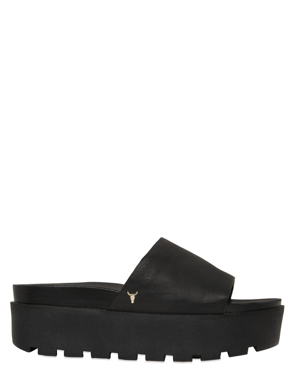 windsor smith leather platform slides in black | lyst