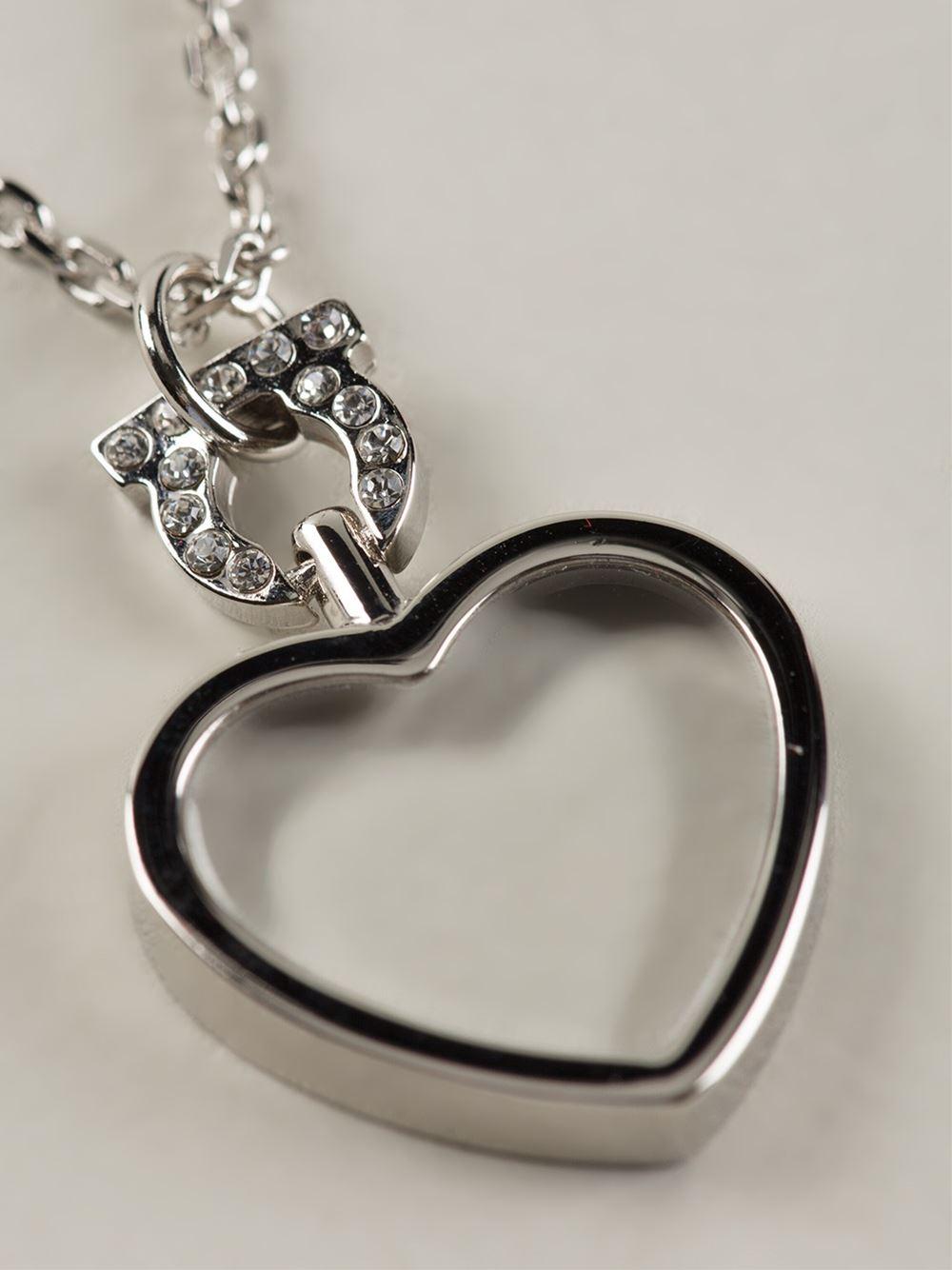 Ferragamo Heart Pendant Necklace in Metallic