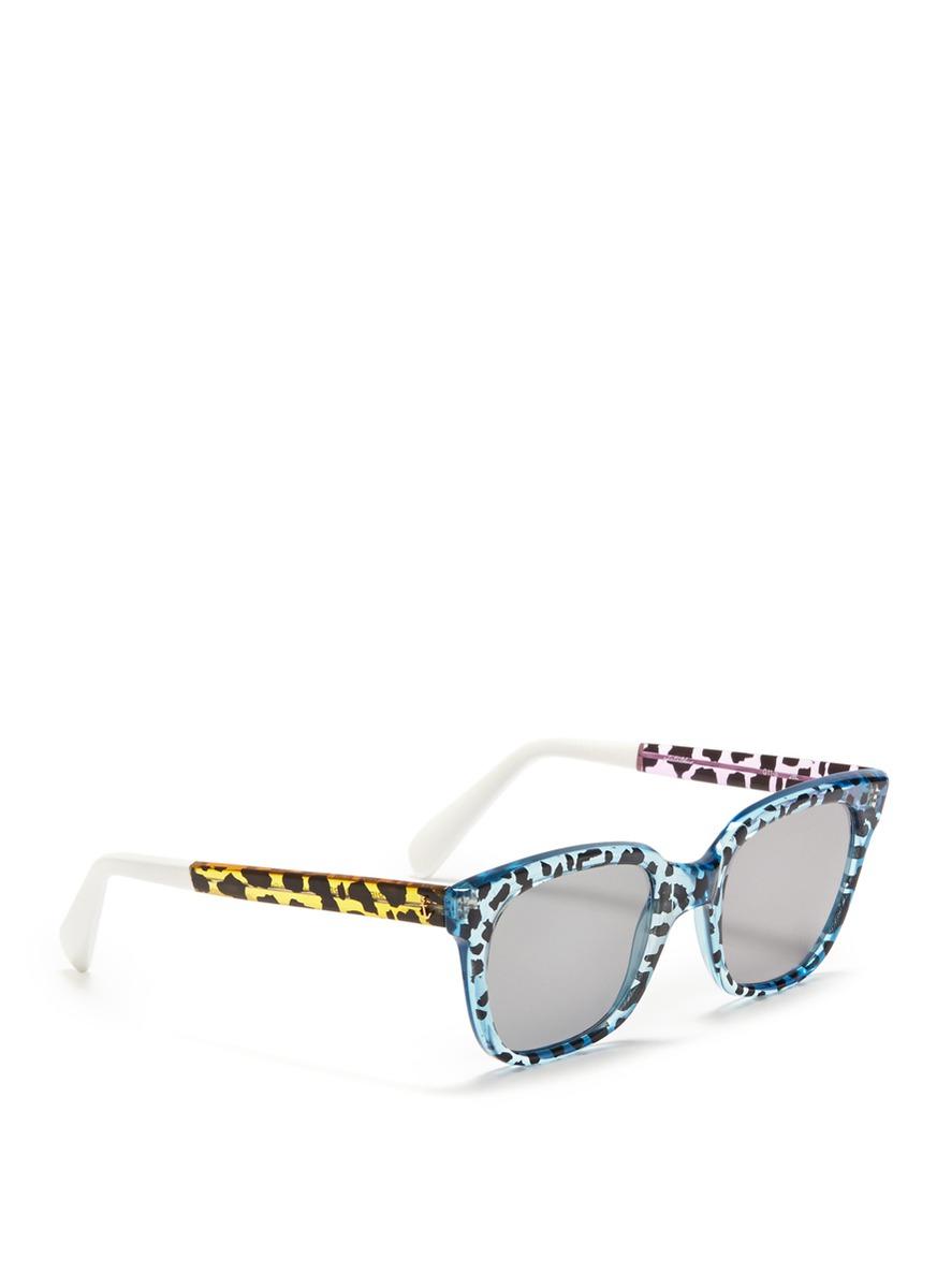 Sheriff & Cherry G11 Wildcat Leopard Print Plastic Frame Sunglasses in Blue