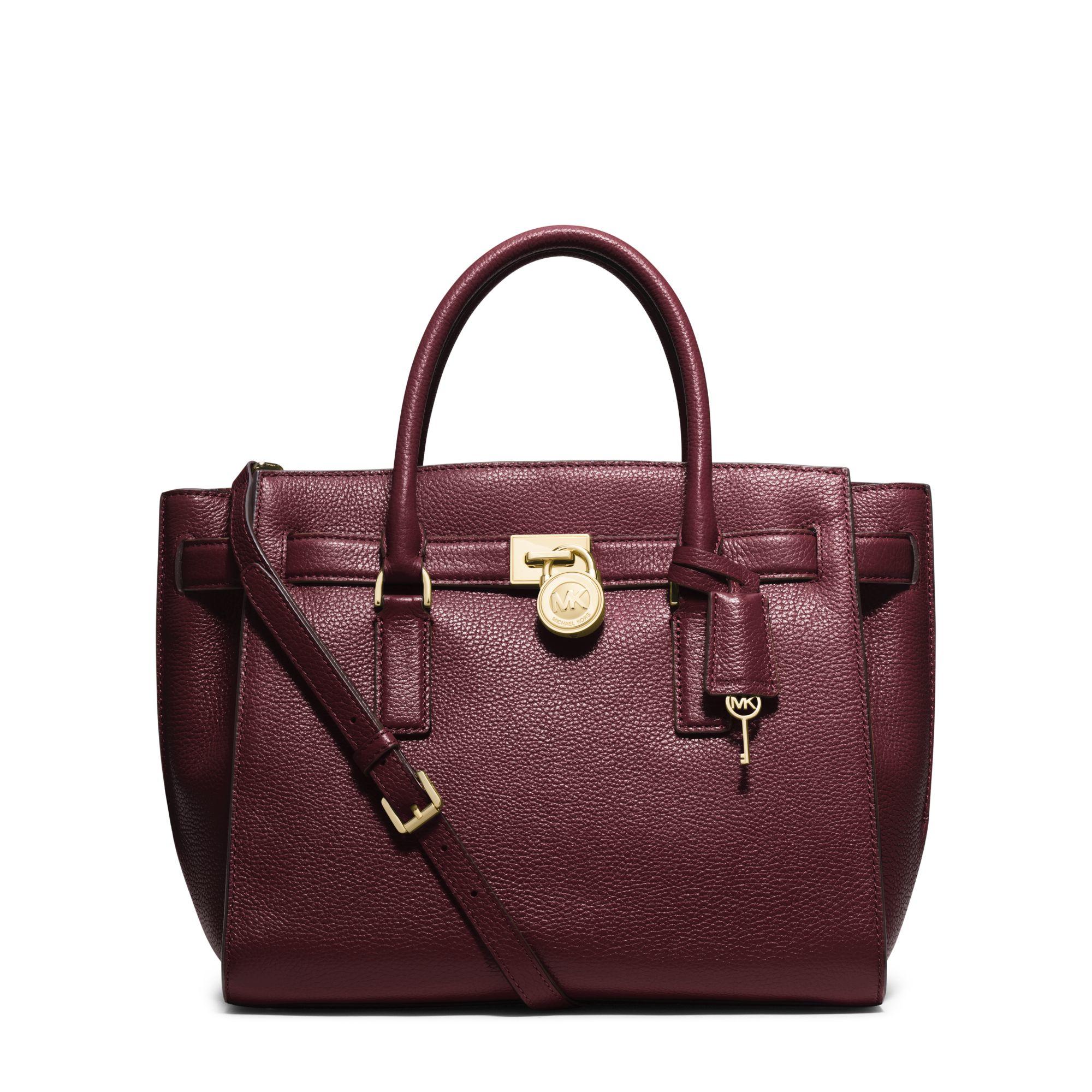 michael kors hamilton traveler leather satchel in purple