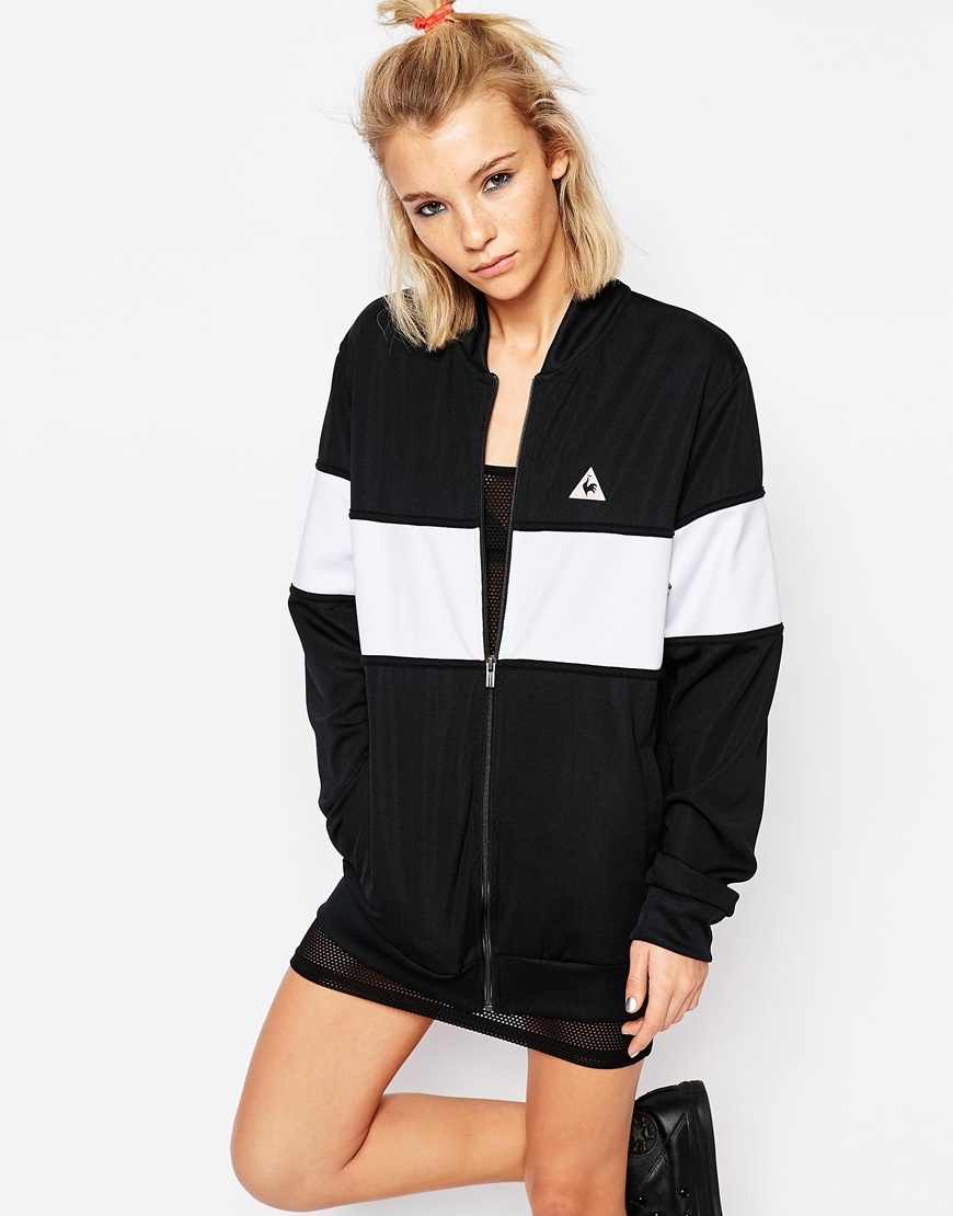 le coq sportif monochrome block bomber jacket in white black lyst. Black Bedroom Furniture Sets. Home Design Ideas