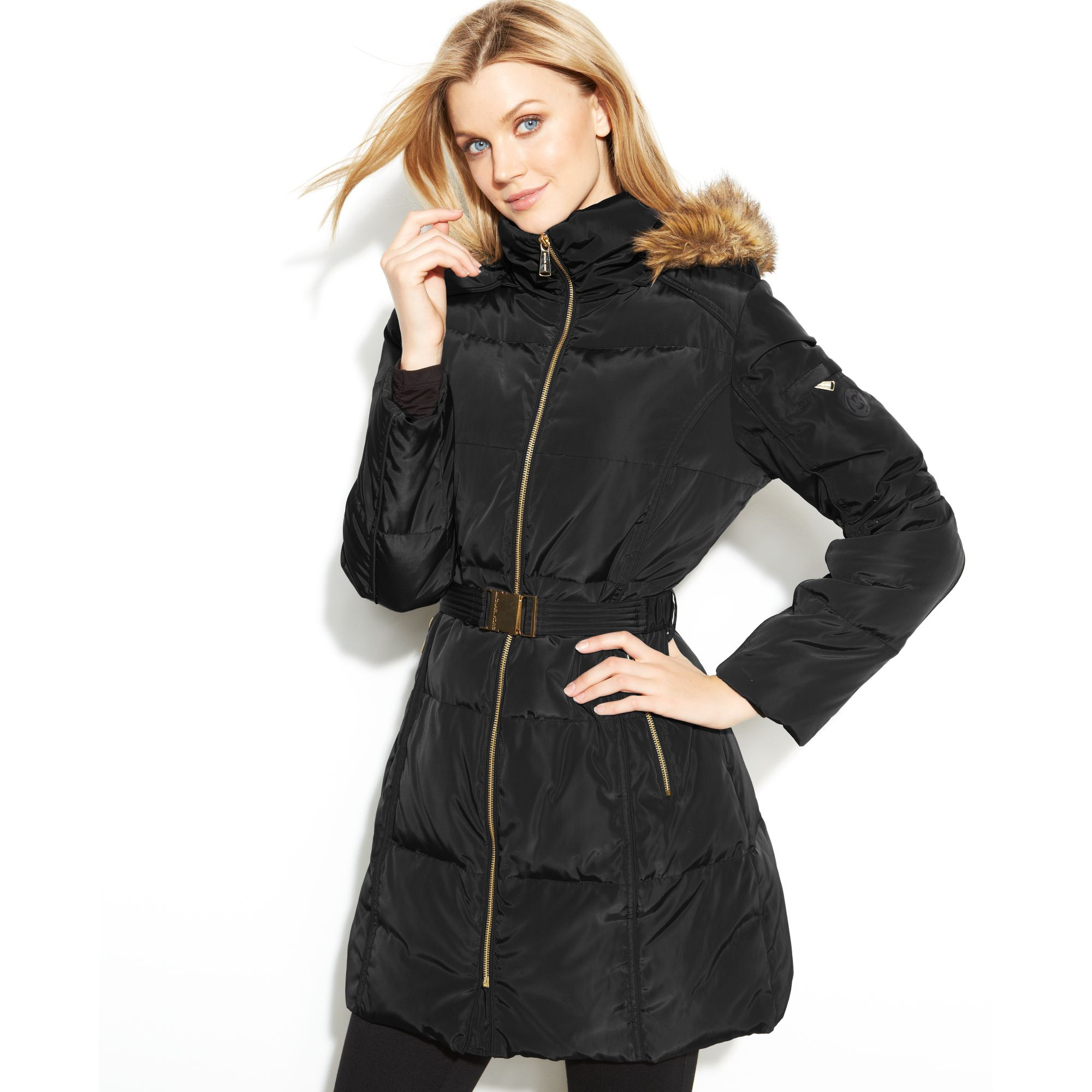 73b9caf48 Michael Kors Black Hooded Faux-fur-trim Belted Puffer