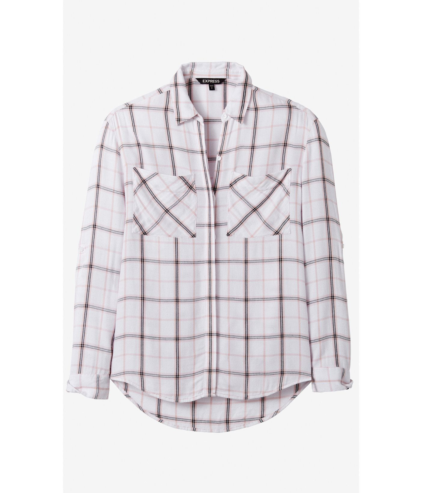 express pink and white oversized plaid shirt in pink lyst