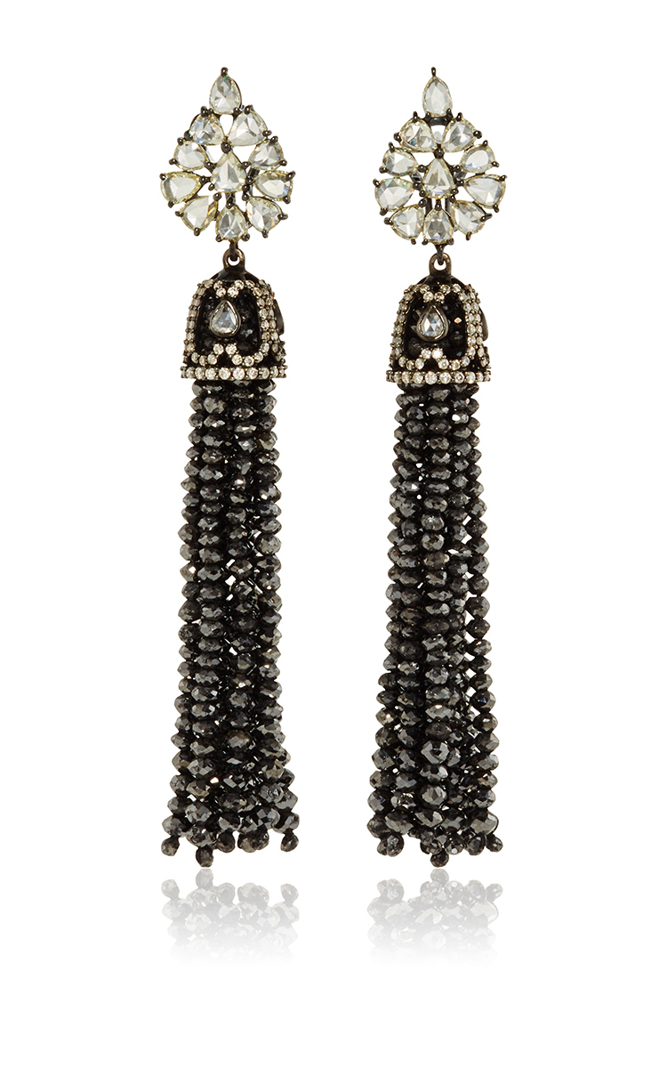 Lyst sutra black diamond bead chandelier earrings in black gallery mozeypictures Image collections