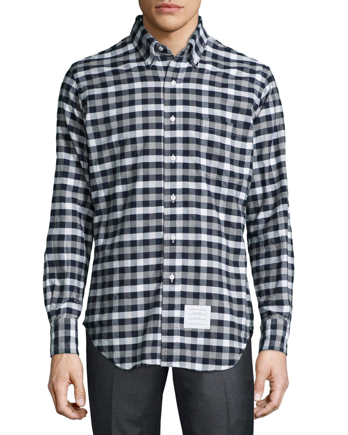 Lyst Thom Browne Checked Shirt In Blue For Men