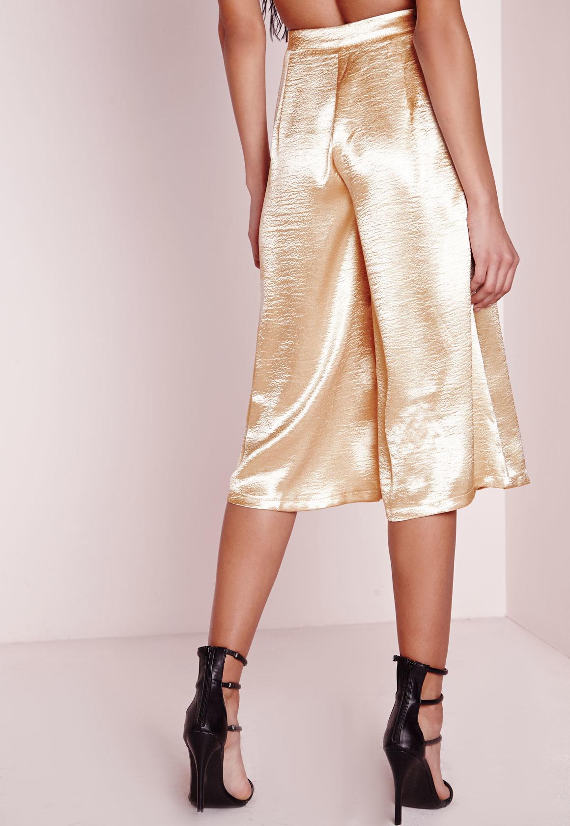 Lyst Missguided Silk Culottes Gold In Metallic