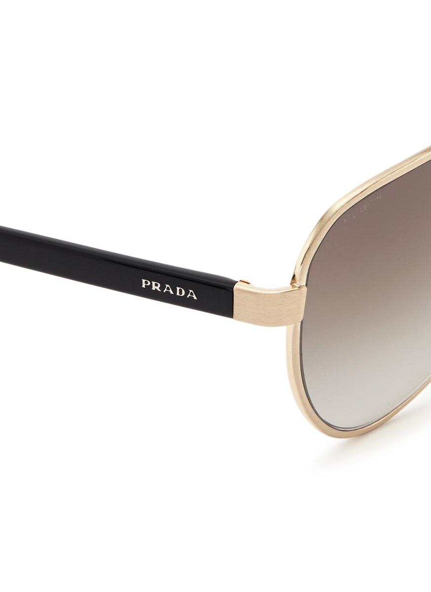 Prada Acetate Temple Metal Angular Aviator Sunglasses in Metallic for Men