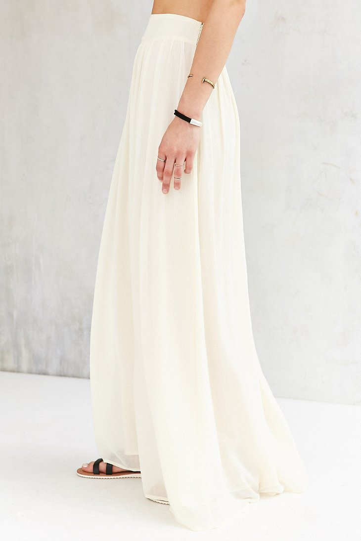 Pins and needles Yoke Chiffon Maxi Skirt in White | Lyst