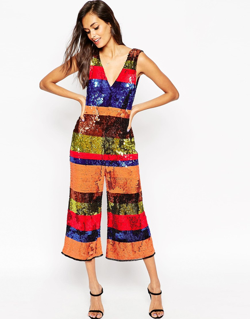 asos multi jumpsuit in all over sequin stripe multicolor product 2 920176399 normal