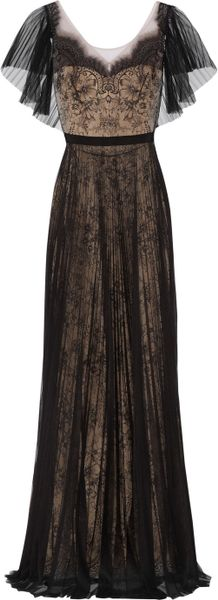 Notte By Marchesa Lace And Pleated Tulle Gown In Black Lyst