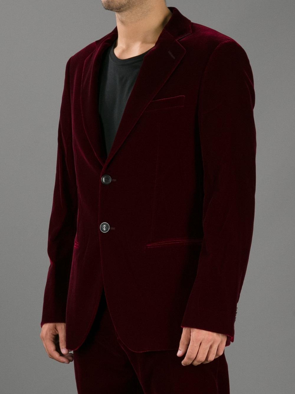 Lyst giorgio armani two button velvet blazer in red for men for Red velvet button up shirt