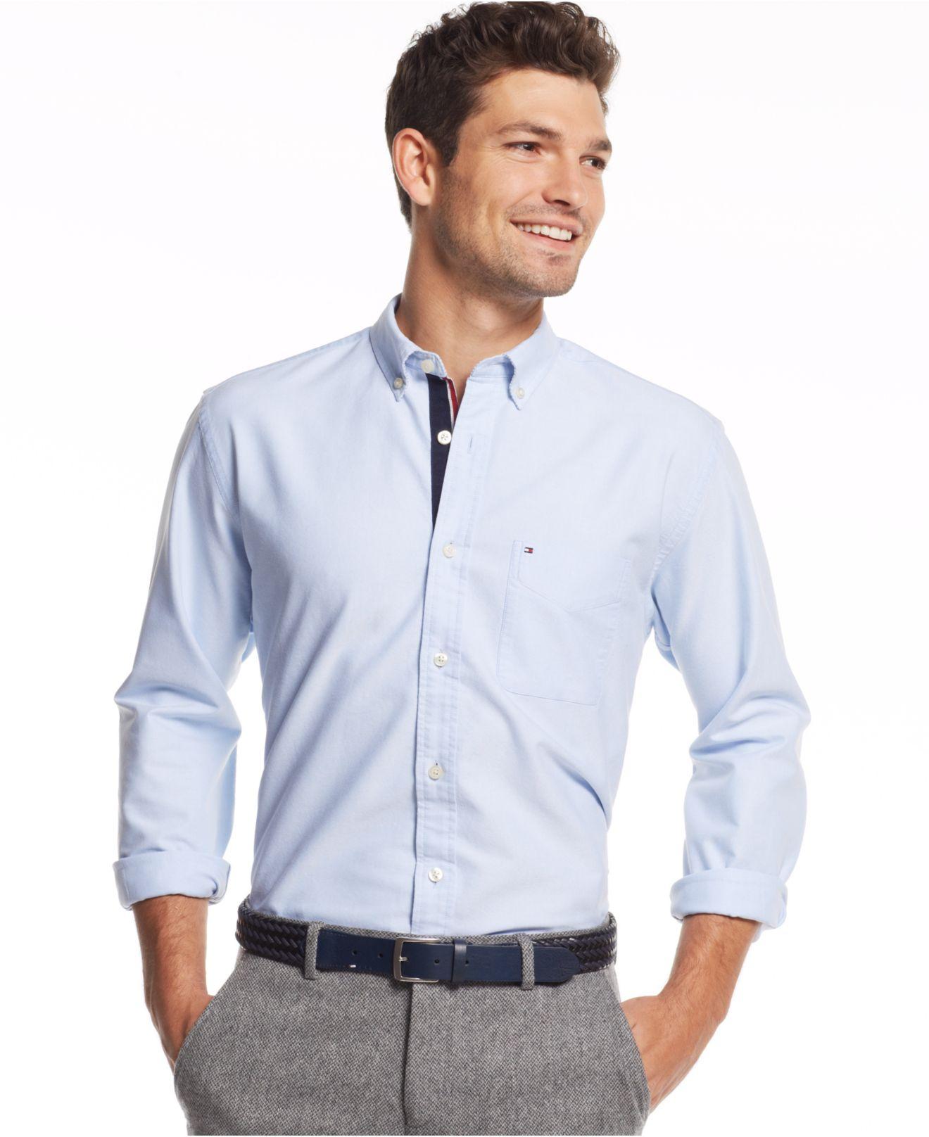 White Stripe Custom Fit TOMMY HILFIGER Shirt Men's Lightweight Oxford Blue