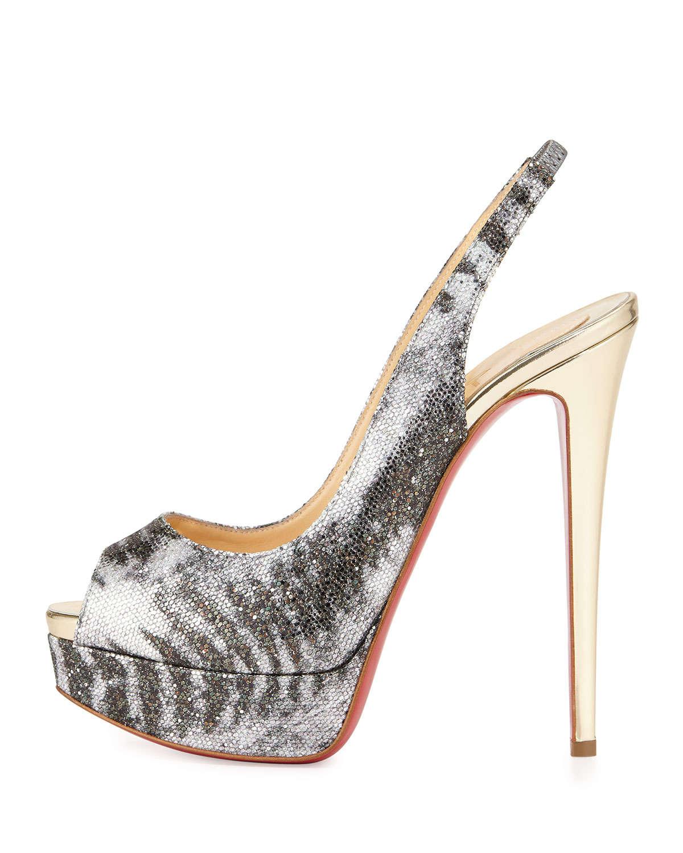 1416cffd2ecc ... shopping lyst christian louboutin lady peep glitter platform pumps in  metallic 5c983 9a47c
