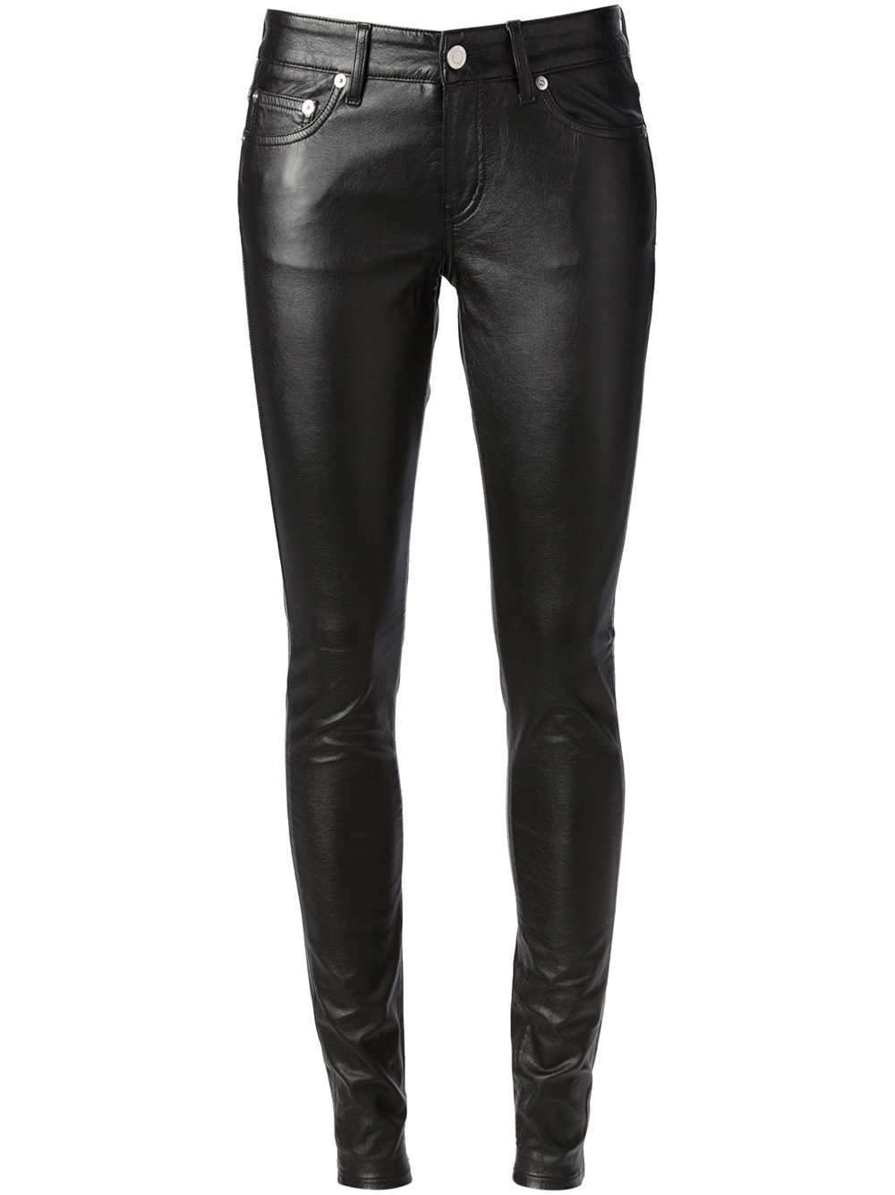 trousers Jennyfer Women's skinny faux leather trousers in black, with 5 pockets and a zip and button fastening. Retouched photo.