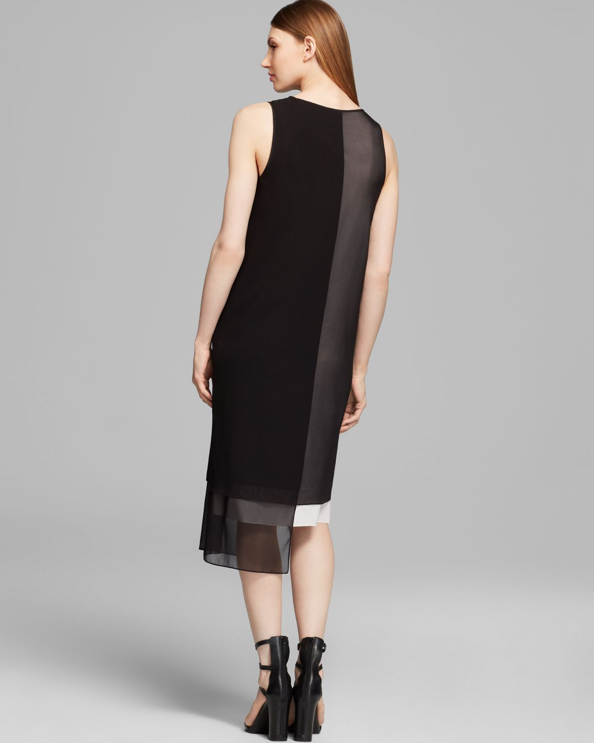 Dkny Layered Color Block Tank Dress In Black White Black