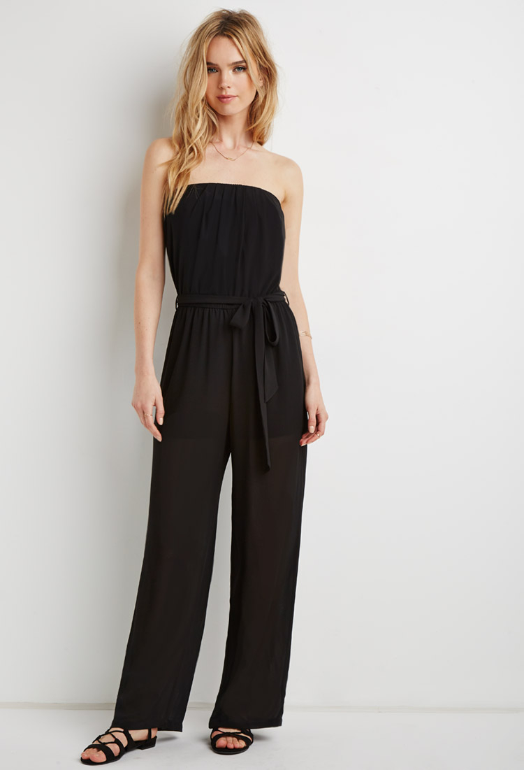 a2b8a273a9a Lyst - Forever 21 Strapless Chiffon Jumpsuit in Black