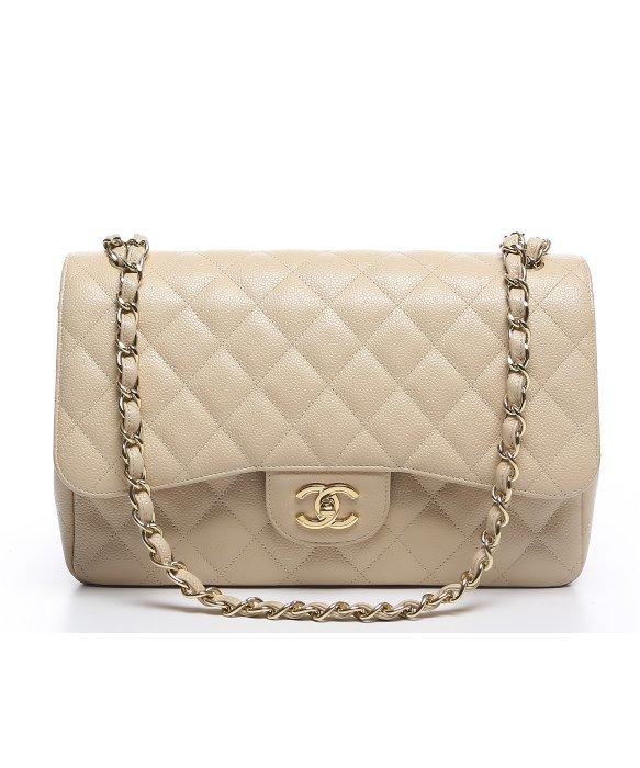 Chanel Pre Owned Beige Caviar Jumbo Single Flap Bag In