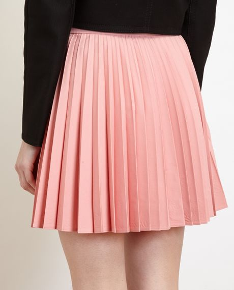 j w sunray pleated wool miniskirt in pink lyst