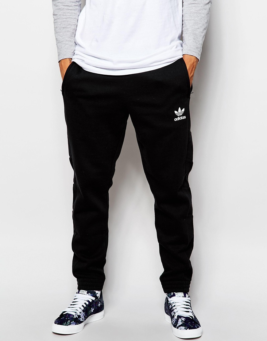 Adidas Originals Skinny Montage Trackpants In Black For