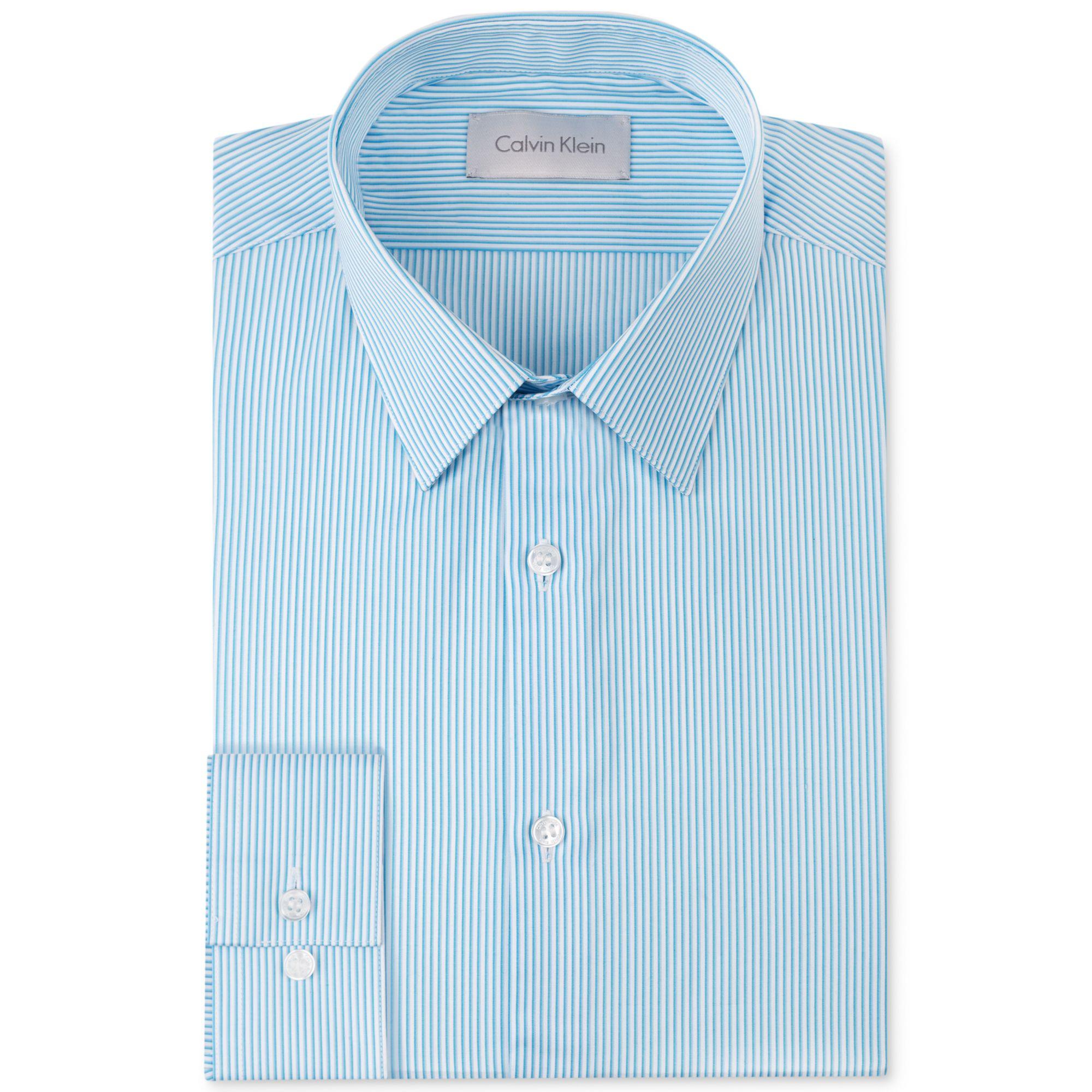 Calvin Klein Platinum Slimfit Aqua Stripe Dress Shirt In