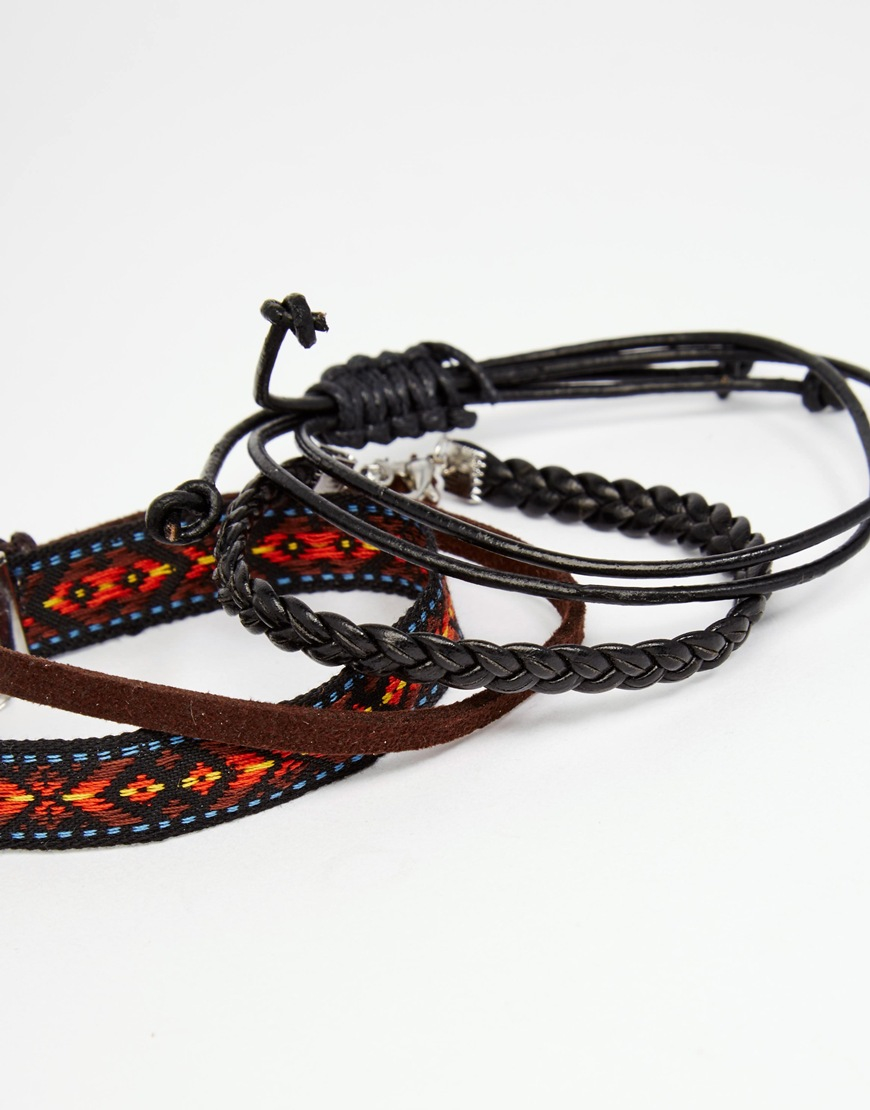 asos woven and cord bracelet pack in brown for lyst