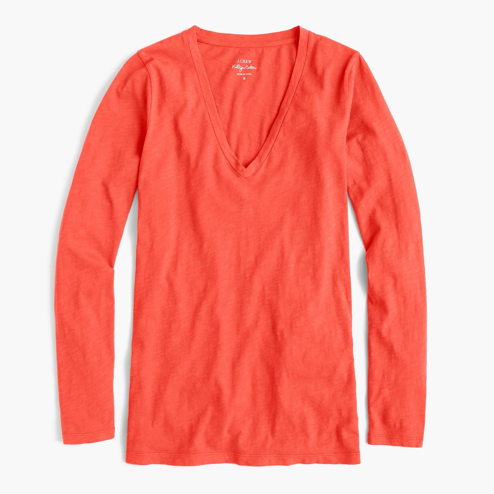 Vintage cotton long sleeve v neck t shirt in orange for Cotton long sleeve v neck t shirts