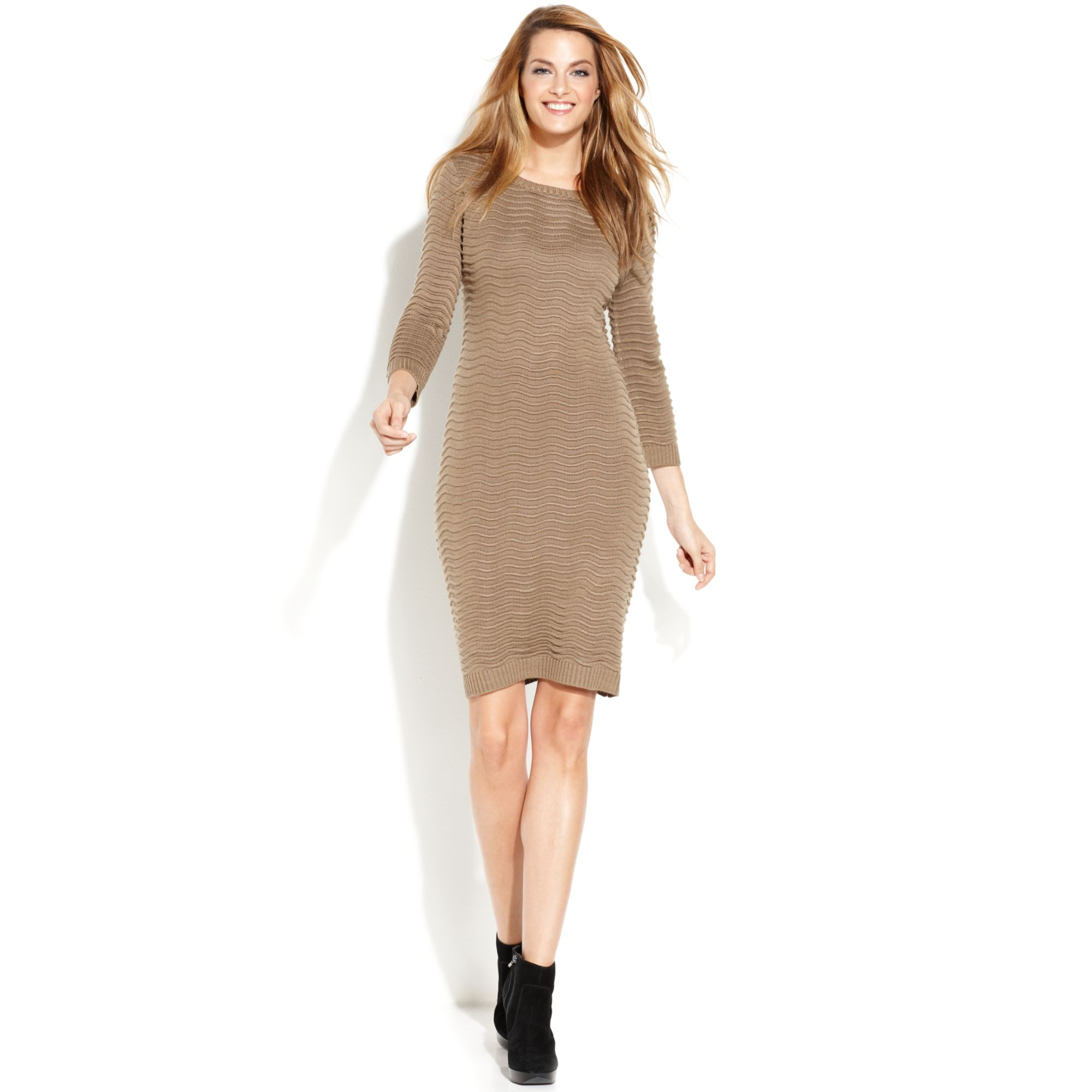 Calvin klein Long-Sleeve Ribbed Sweater Dress in Brown | Lyst