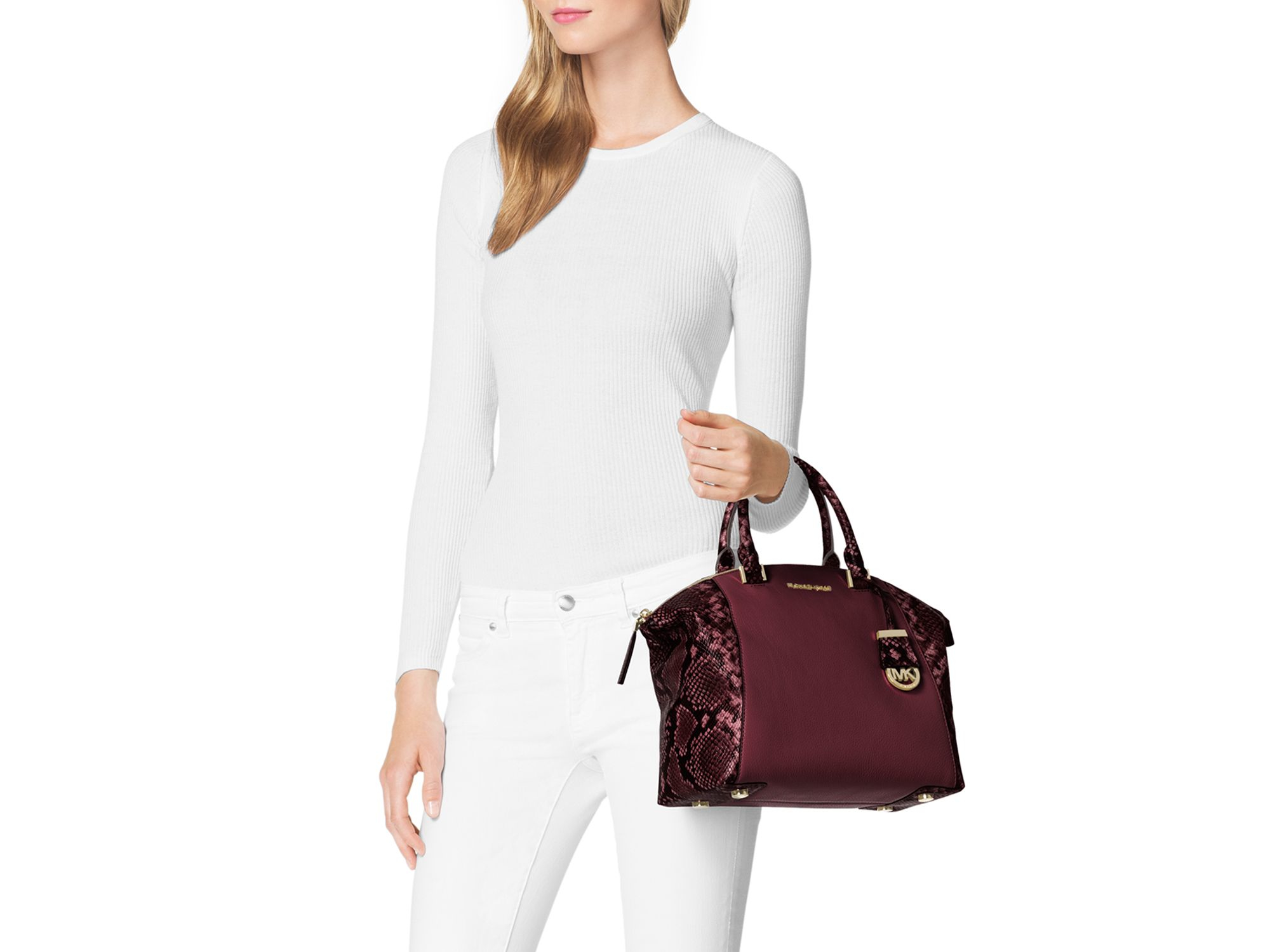 40563681569d8f ... denmark michael kors riley medium satchel bag wsnake print in purple  ae4e9 12daf ...