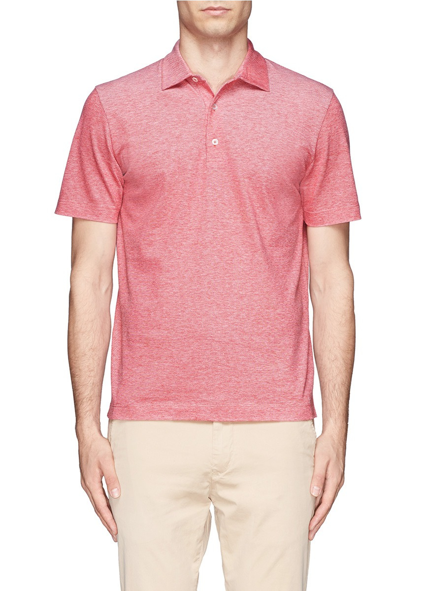 Lyst Canali Cotton Polo Shirt In Red For Men
