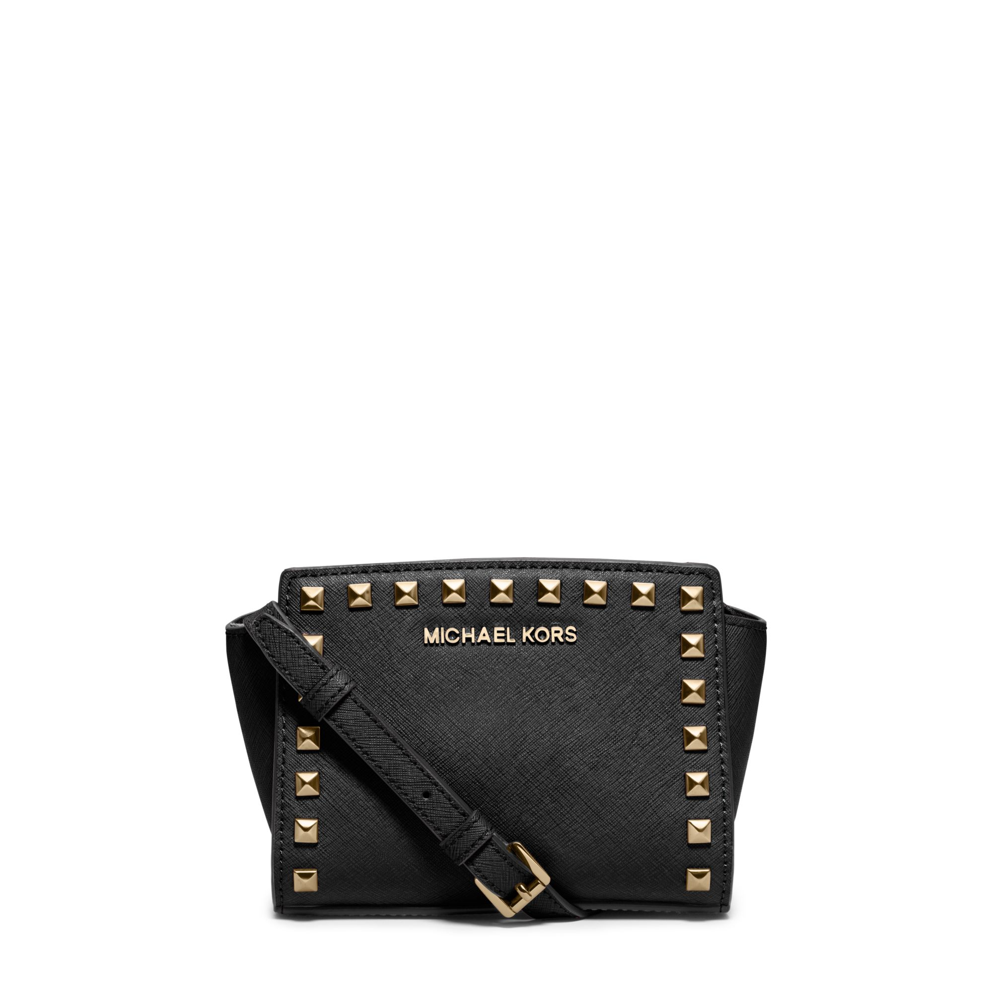 212801245a3a82 Michael Kors Selma Mini Studded Leather Crossbody in Black - Lyst