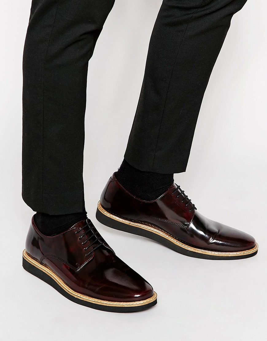 free shipping latest collections geniue stockist ASOS Lace Up Derby Shoes In Burgundy Leather clearance fast delivery clearance sast cheap sale 2015 NRLpc