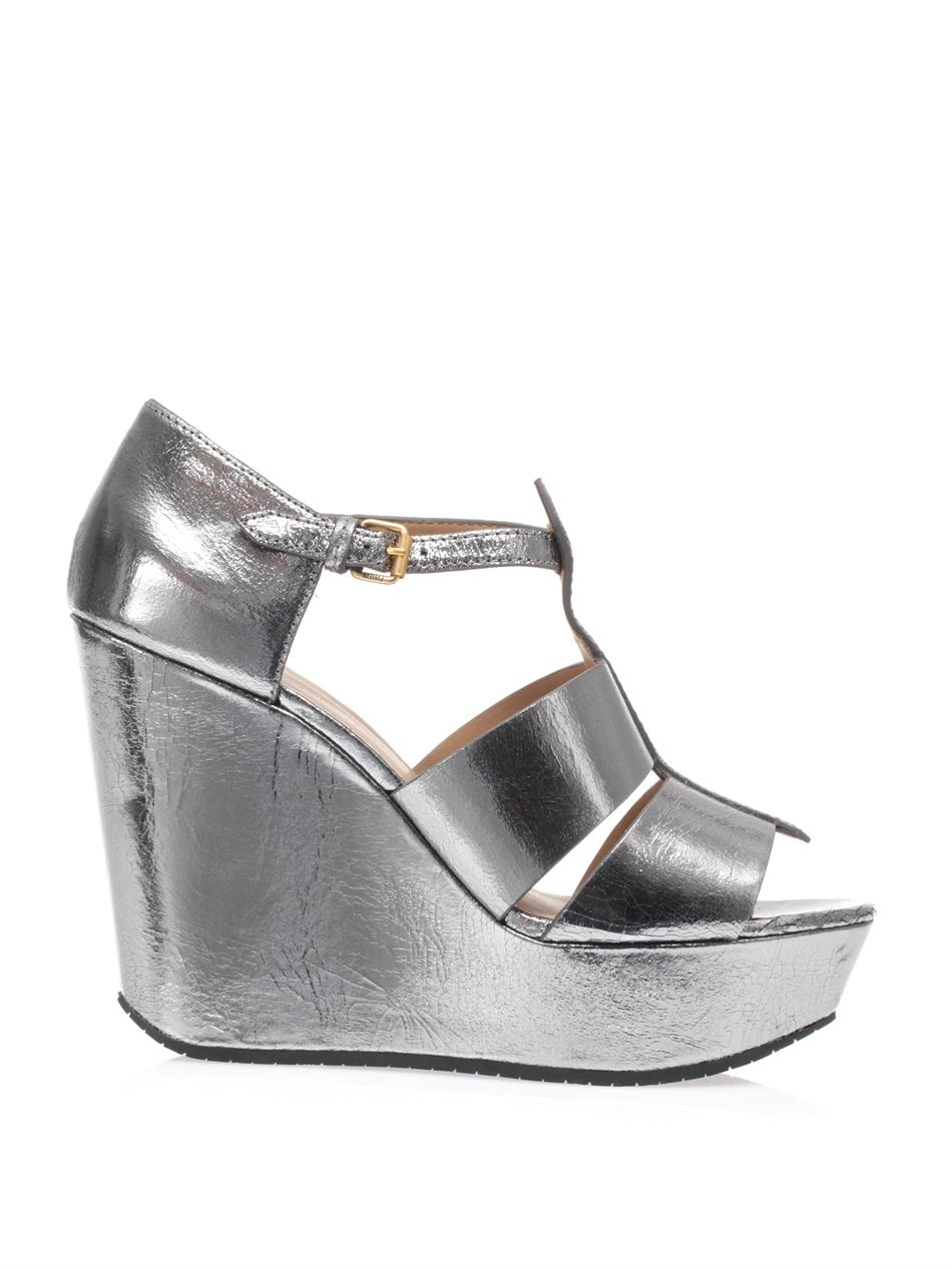 Marc By Marc Jacobs Dalina Wedge Sandals In Silver