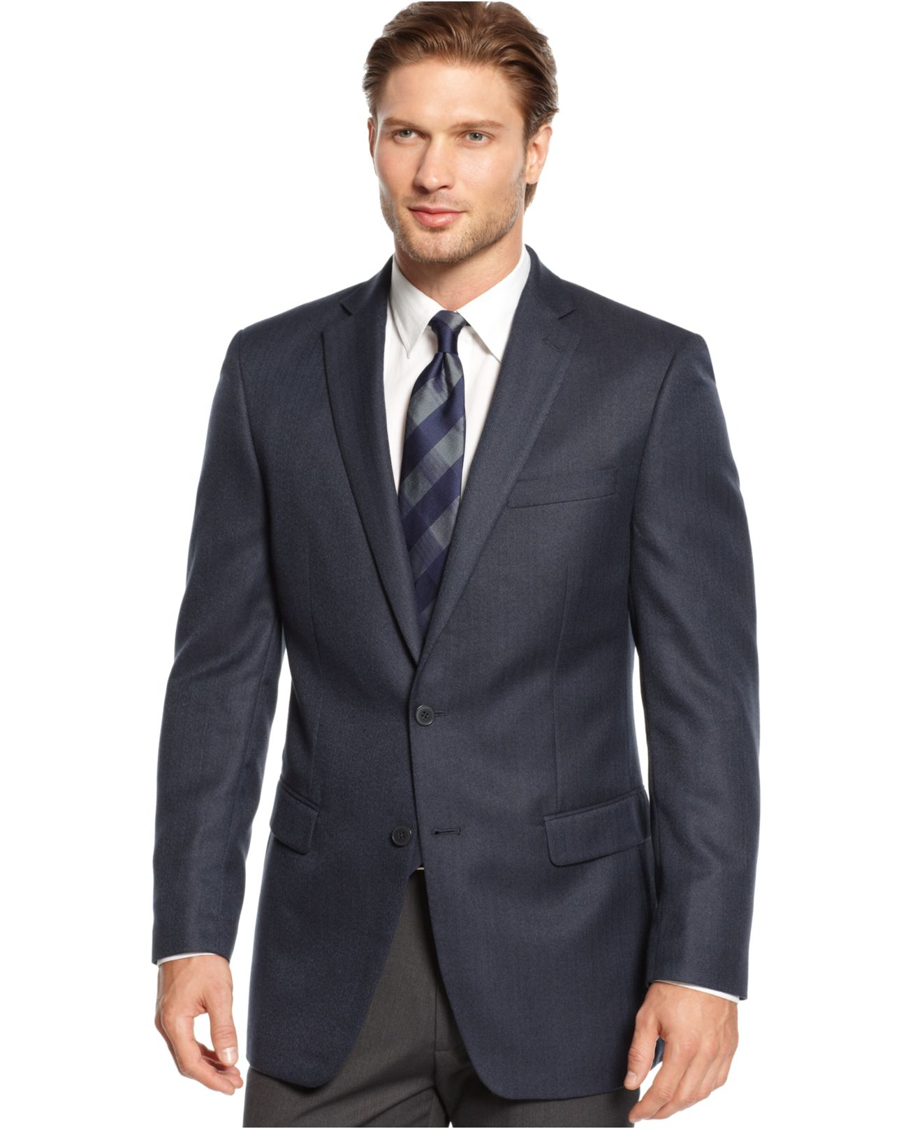calvin klein blue big and tall herringbone sport coat for men lyst. Black Bedroom Furniture Sets. Home Design Ideas
