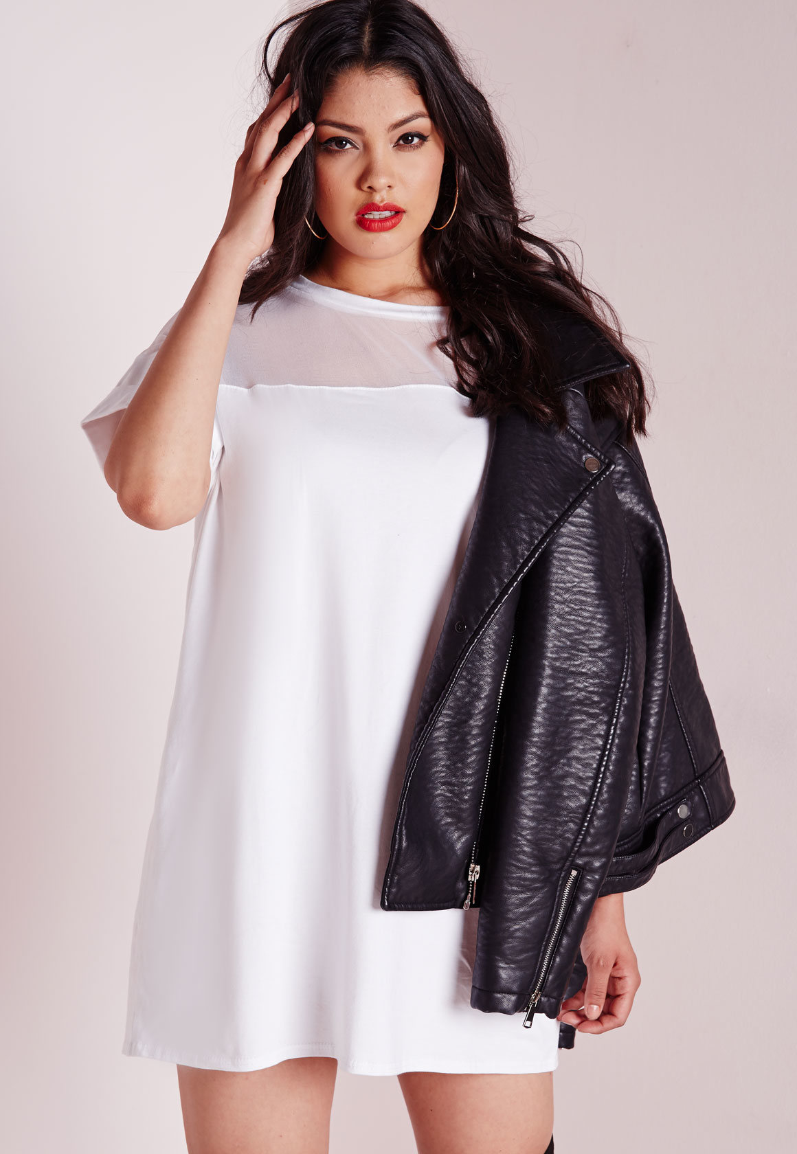 1ebd195749d Lyst - Missguided Plus Size Mesh Panel T-shirt Dress White in White