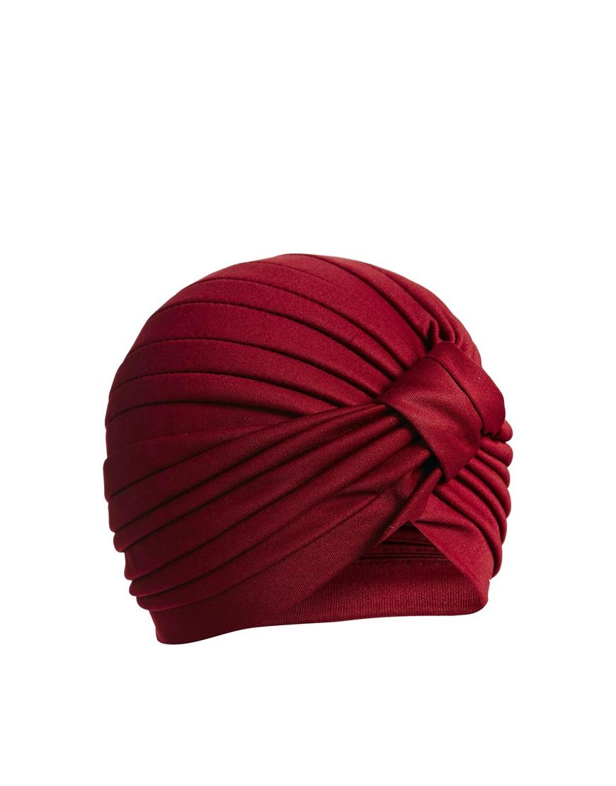 Asos Turban Hat In Burgundy Red Lyst