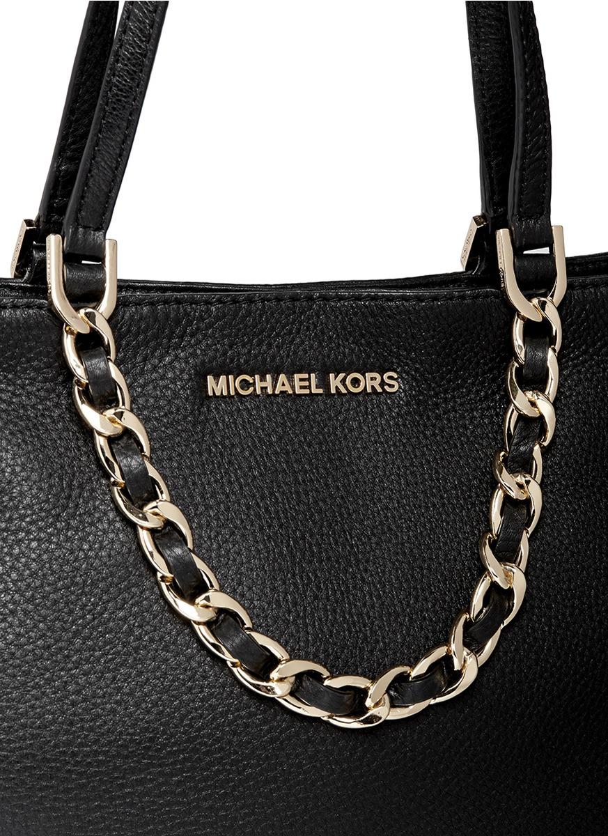 Michael Kors Harper Medium Chain Leather Tote In Black Lyst