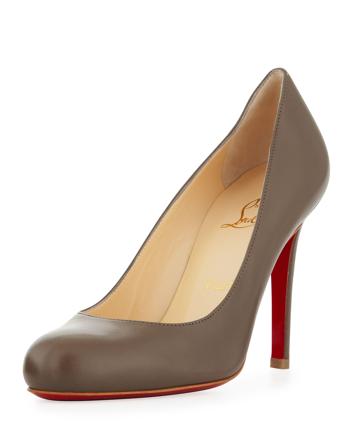 christian louboutin pumps Taupe suede covered heels | The Filipino ...