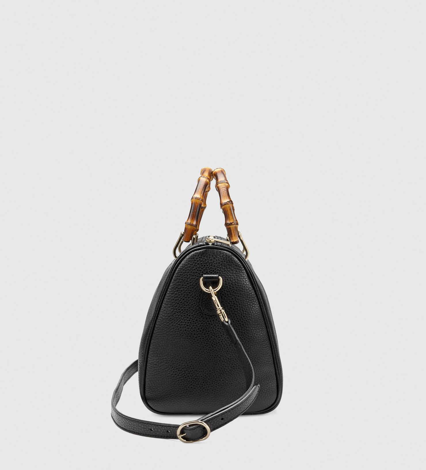 77f8350c6c48 Gucci Bamboo Shopper Leather Boston Bag in Black - Lyst
