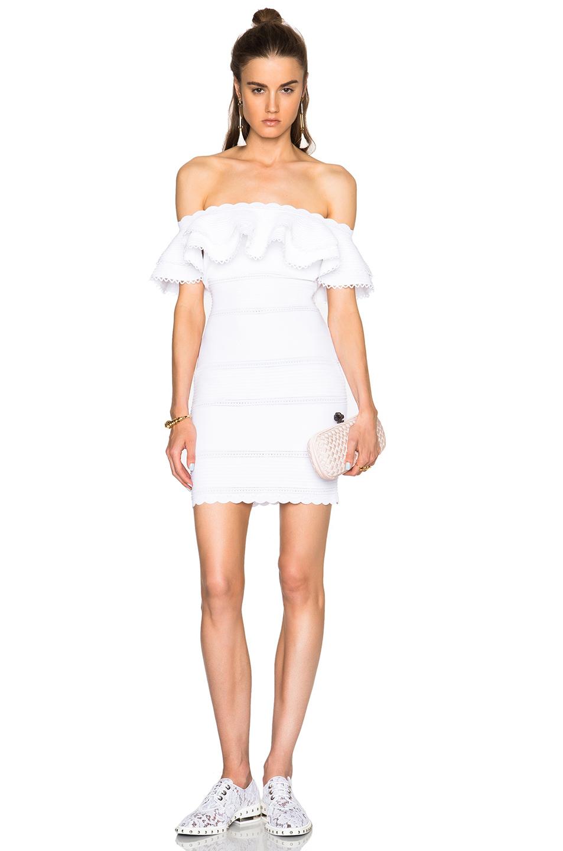 6759e44eb97a Lyst - Alexander McQueen Off Shoulder Mini Dress in White