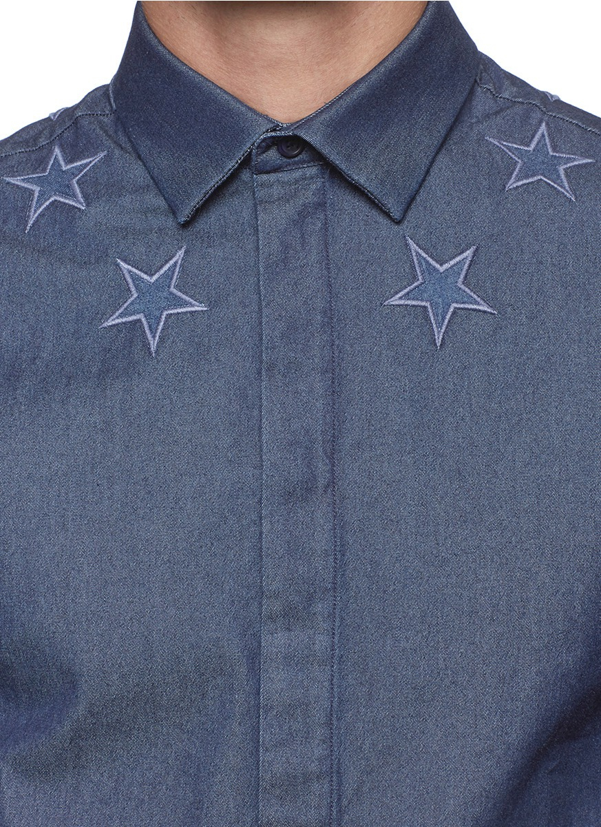 Givenchy star embroidery denim shirt in blue for men lyst for Givenchy 5 star shirt