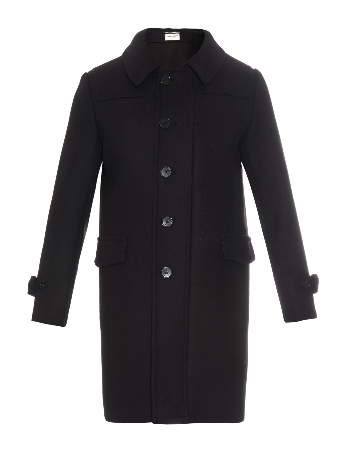 Saint laurent Wool Duffle Coat in Black for Men | Lyst