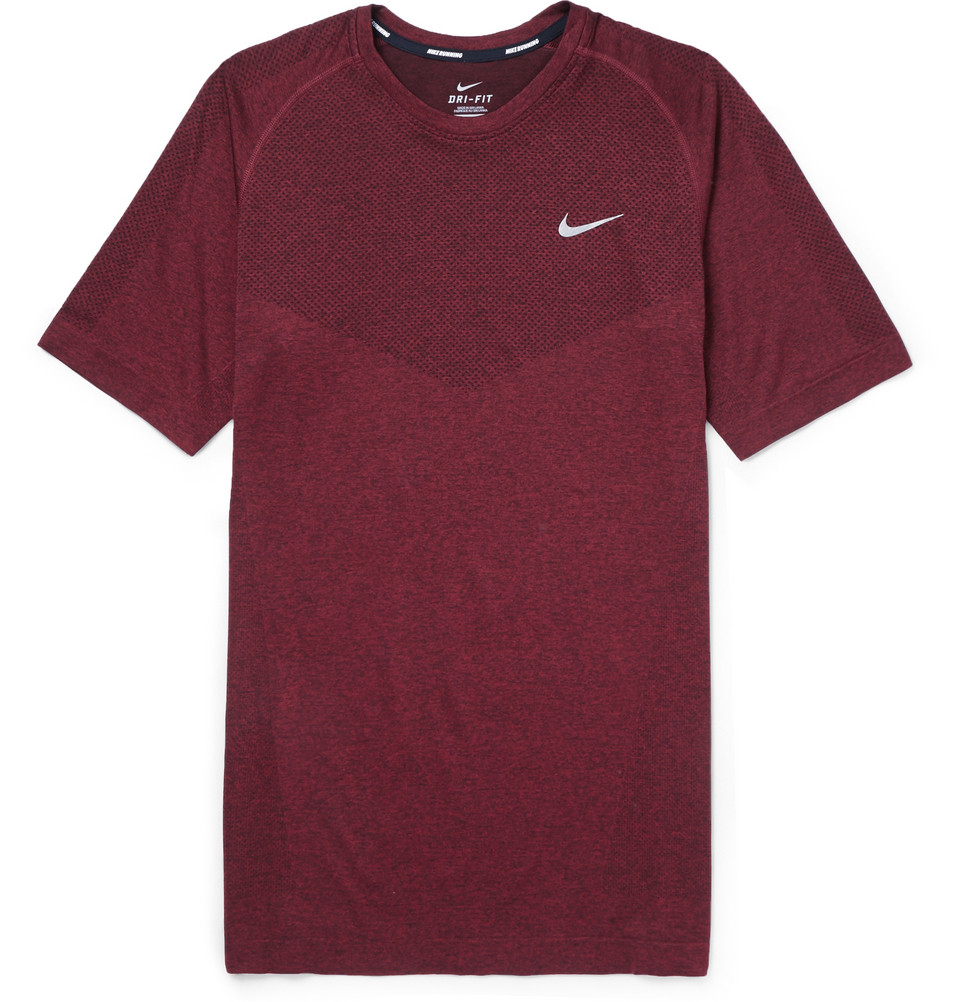 Nike dri fit running t shirt in purple for men burgundy for Dri fit dress shirts