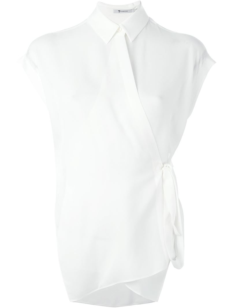 T by alexander wang wrap style shortsleeved shirt in white for Wrap style t shirts