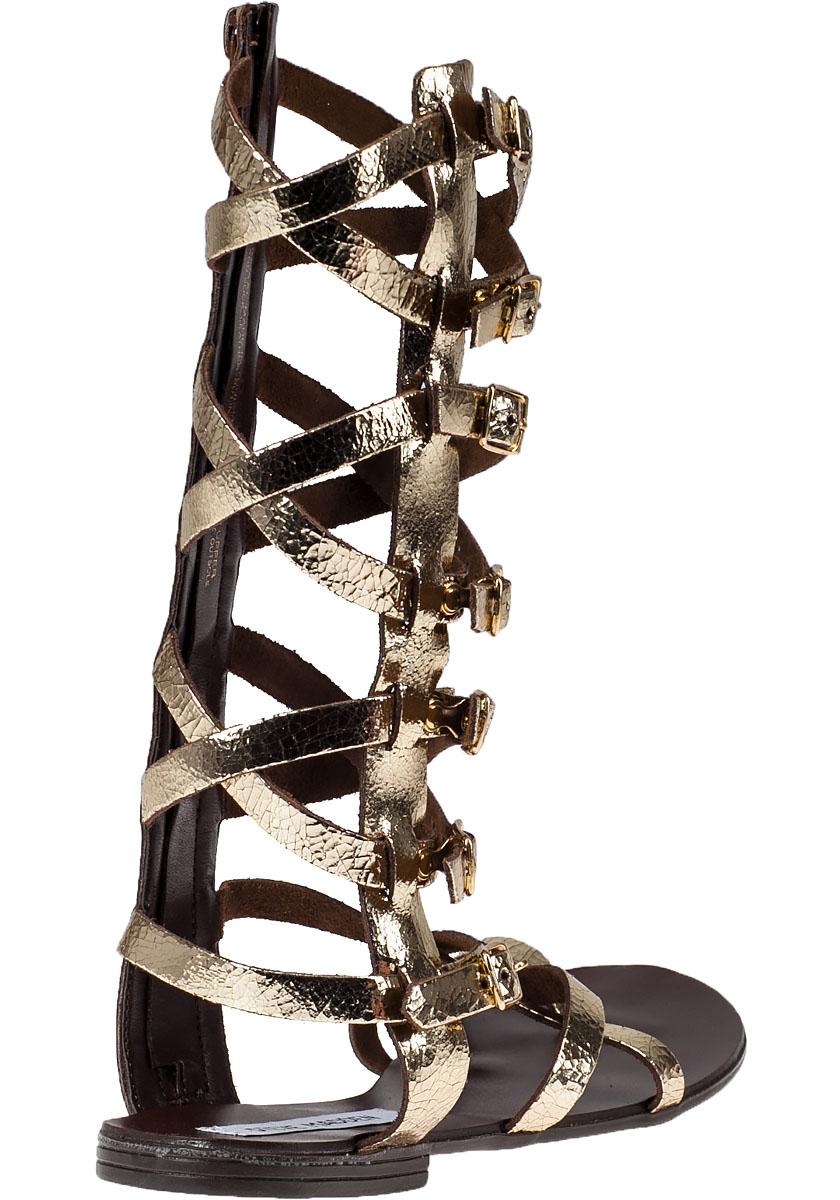 Steve Madden Rivval Leather Gladiator Sandals In Gold