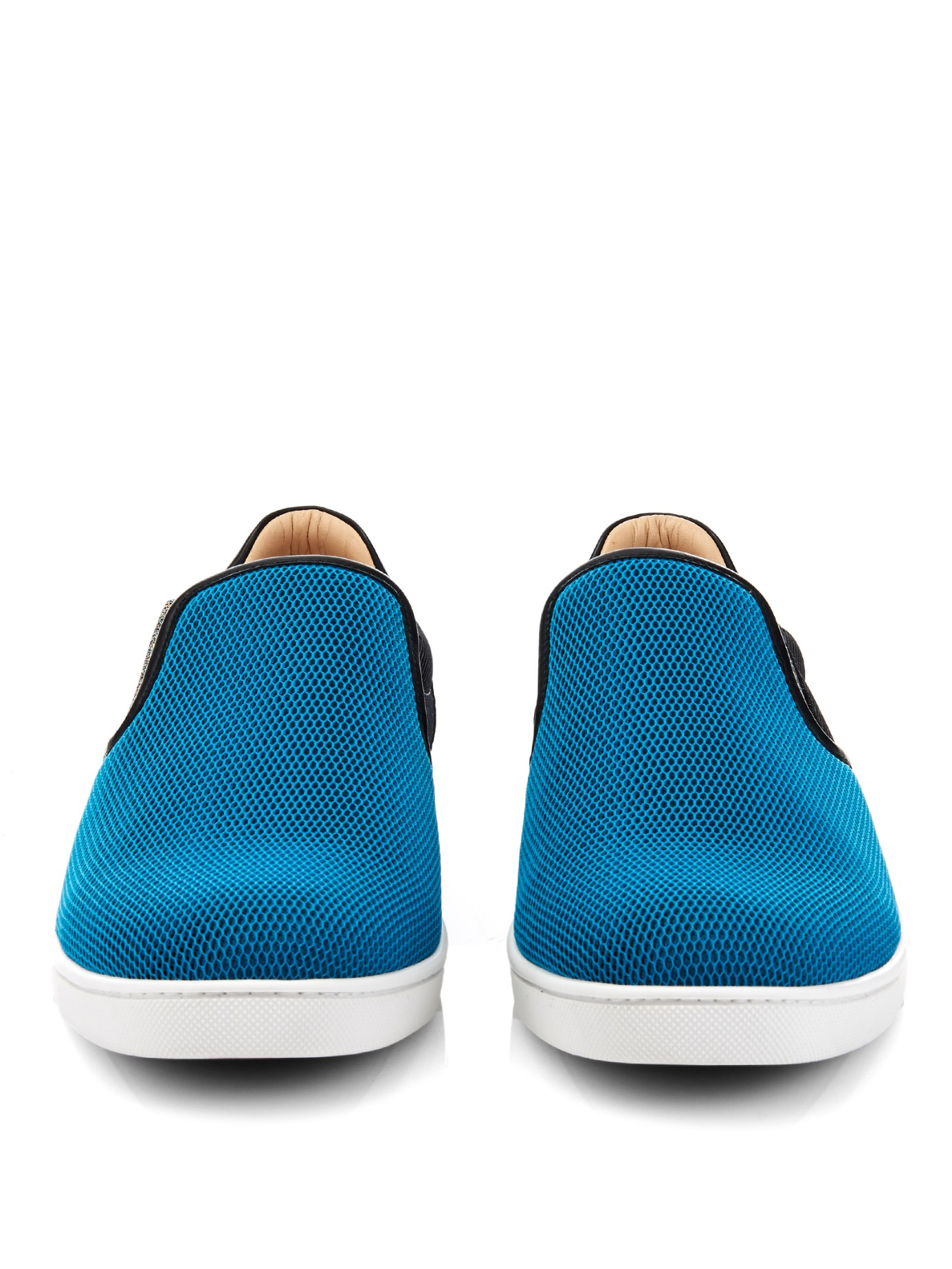 Christian Louboutin Leather Contrast-panel Slip-on Trainers in Blue for Men