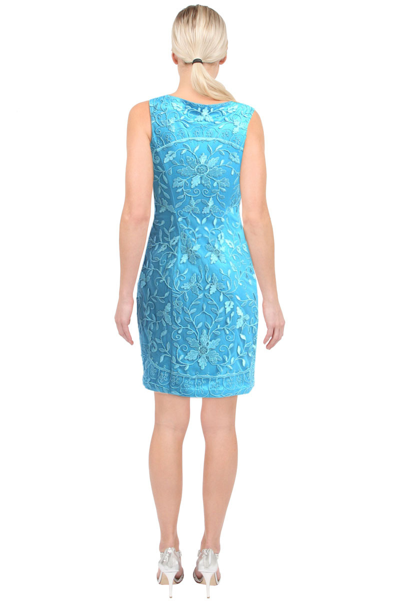 Sue wong floral embroidered cocktail dress in blue sky