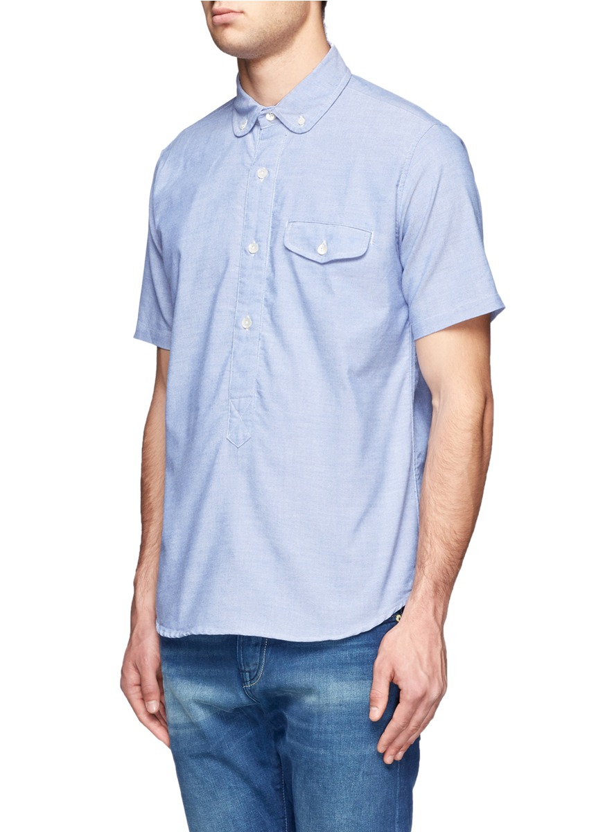 Nanamica Flap Chest Pocket Chambray Shirt In Blue For Men