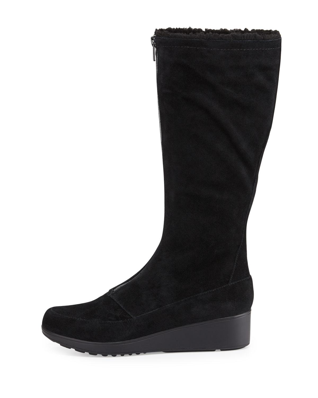 Cole haan Yonkers Waterproof Suede Wedge Boot in Black | Lyst