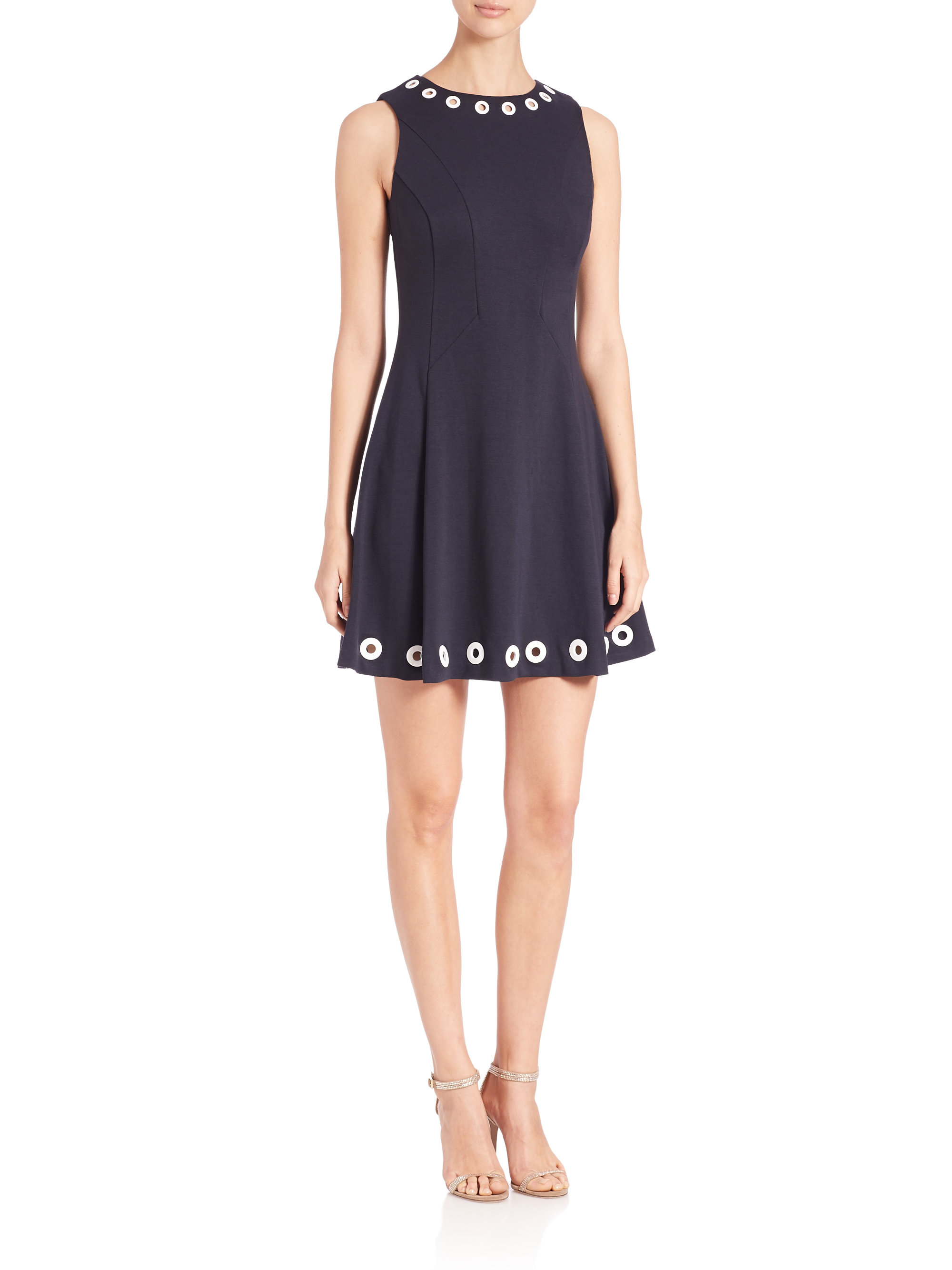 129507c0ab Lyst - MICHAEL Michael Kors Grommet-detail Flare Dress in Blue