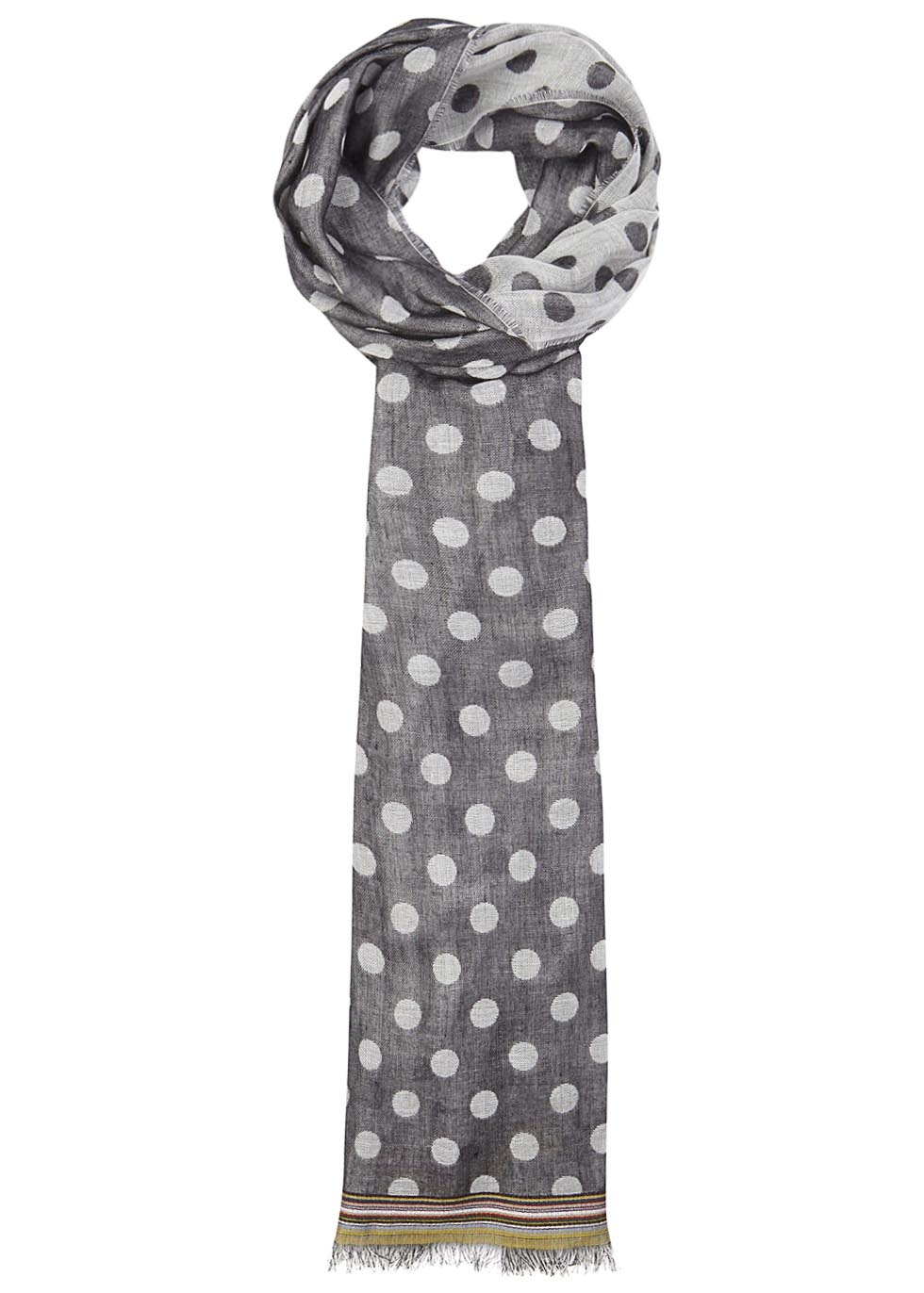 paul smith polka dot scarf in gray for lyst